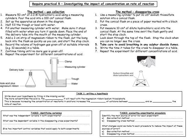 Required practical activity (CHEMISTRY) - RATE & CONCENTRATION) (revision worksheet & answers)