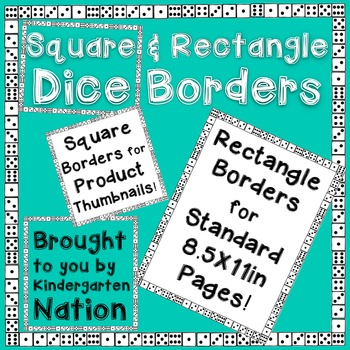 Dice Borders ~ Square & Rectangle ~ White & Transparent Backgrounds