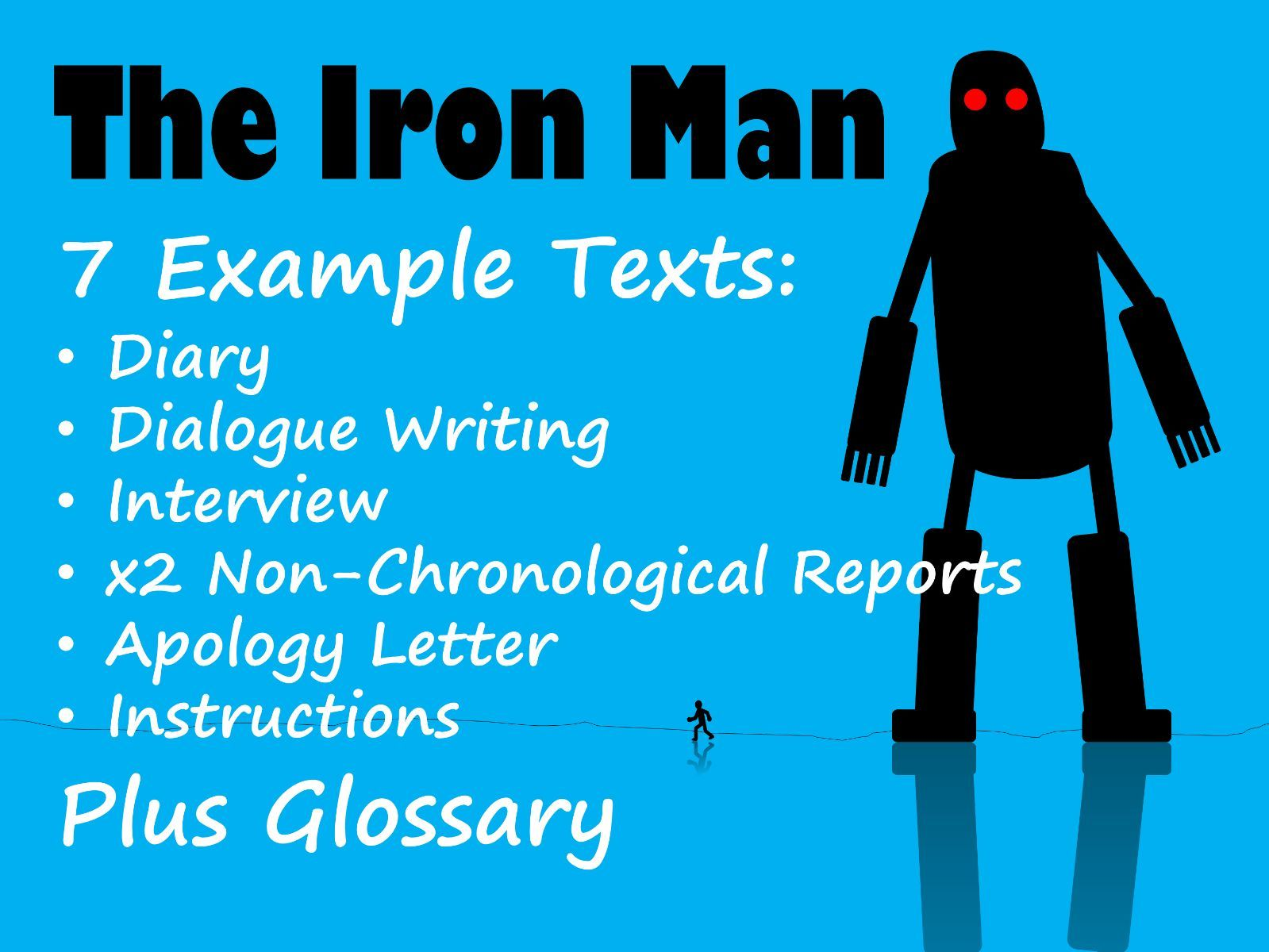 Iron Man 7 Example Texts & Glossary BUNDLE with Feature Identification & Answers