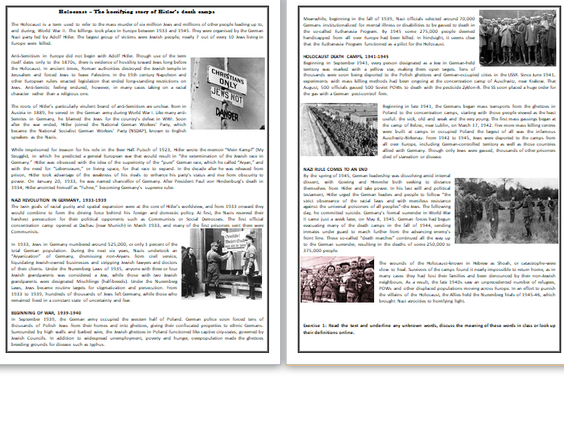 Holocaust – The horrifying story of Hitler's death camps - Reading Comprehension Worksheet