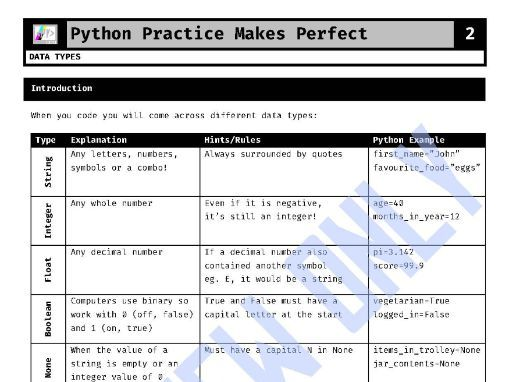 Data Types (Python Practice Makes Perfect 2)