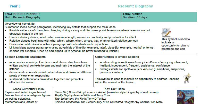 Detailed English Planning - biography year 5
