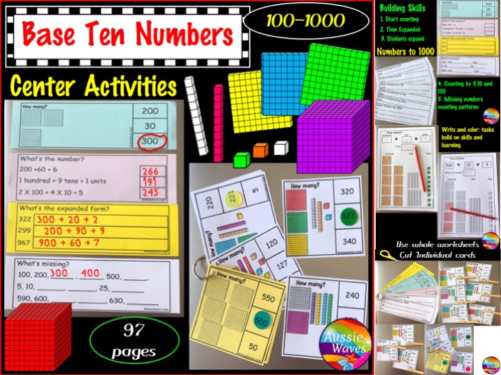 Base Ten Activities Numbers 100-1000 Printable Grade 1 and Grade 2 Maths Centres
