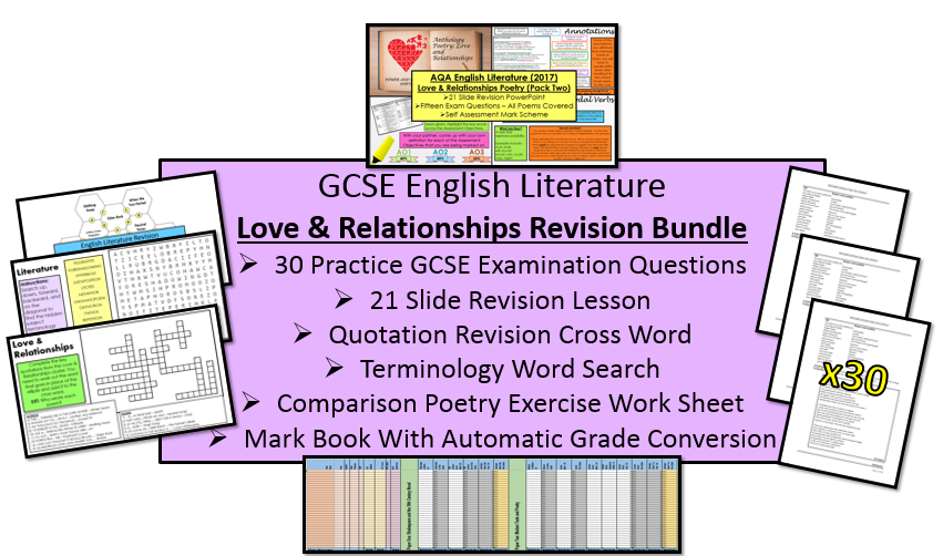 Love and Relationships Poetry Revision Bundle With Practice Questions (AQA, 9-1 GCSE)