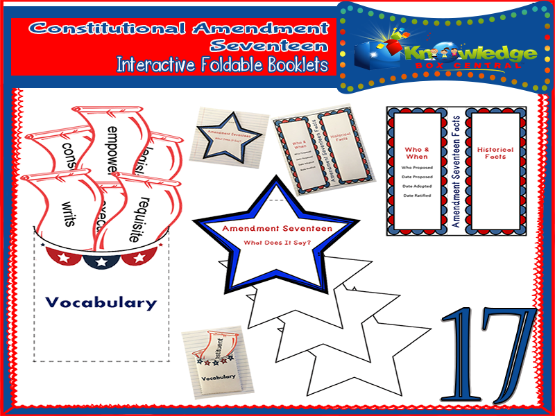 Constitutional Amendment Seventeen Interactive Foldable Booklets