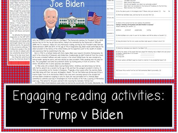 Race for the White House reading activity! Biden v Trump, US presidential election 2020