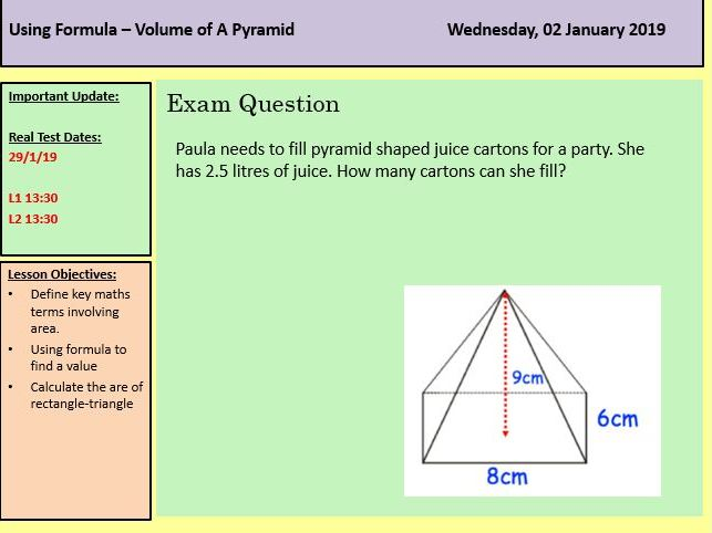 Functional Skills Maths- Perimeter-Area and Volume Revision Powerpoint