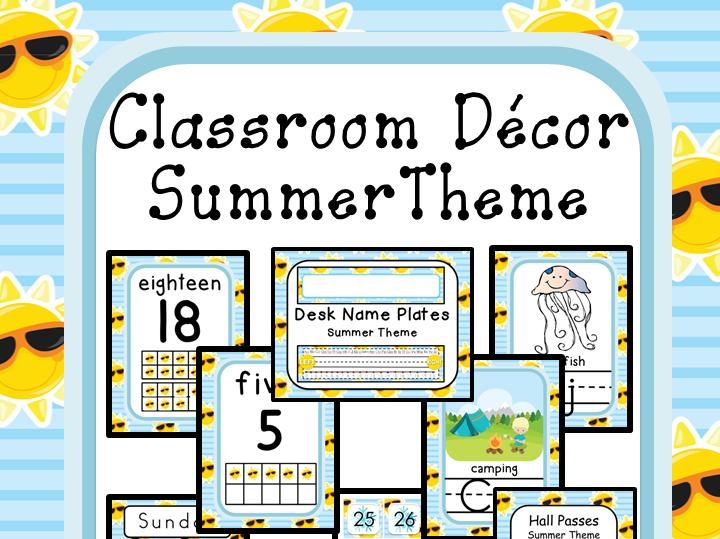 Classroom Decor Editable Summer Theme