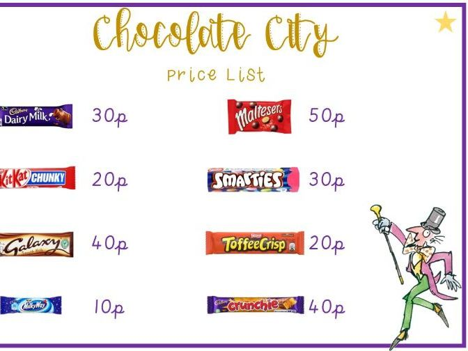 Roald Dahl inspired chocolate shop money maths activity EDITABLE