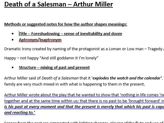 AQA Lit B Death of a Salesman Method Notes