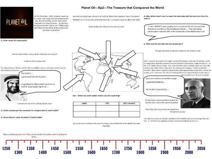 BBC - Planet Oil - Ep2 - The Treasure that Conquered the World - Worksheet to support the BBC Doc