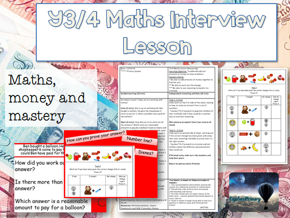 Outstanding Y3/4 Interview Maths Lesson - money mastery reasoning