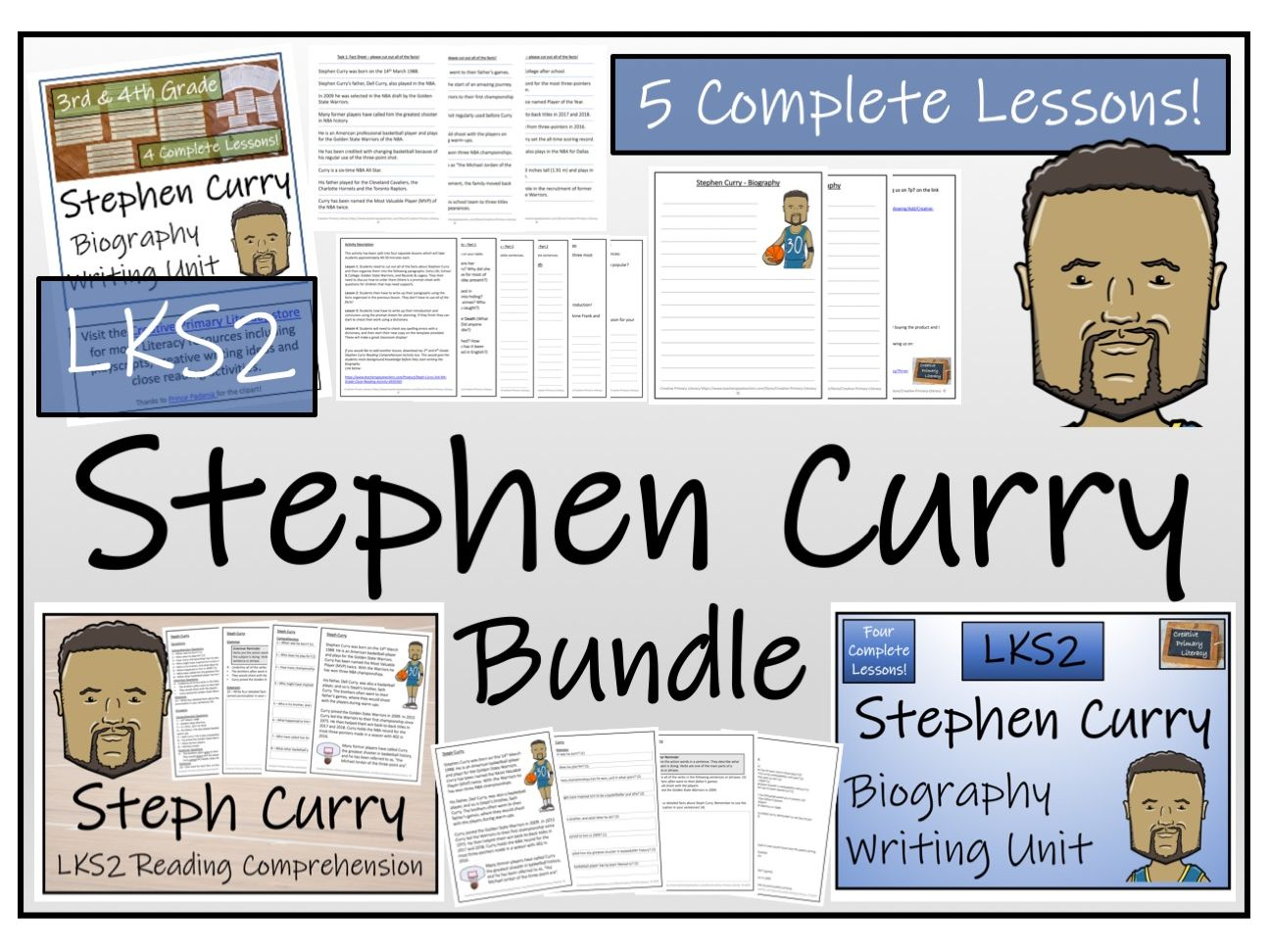 LKS2 Literacy - Stephen Curry Reading Comprehension & Biography Bundle