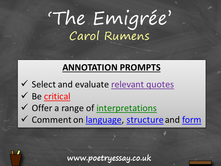Carol Rumens – 'The Emigrée' – Annotation / Planning Table / Questions / Booklet