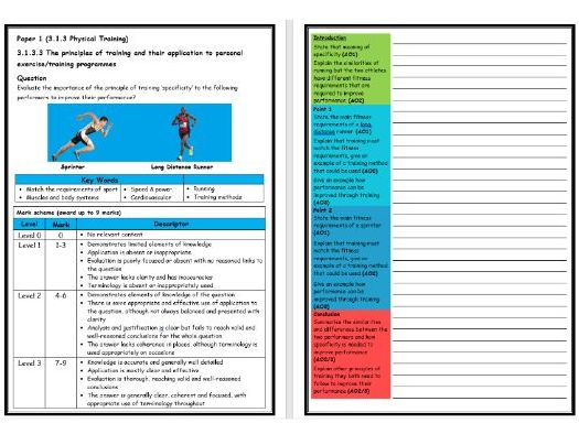 GCSE PE - AQA (9-1) - Structure Strip - Principles of Training (Extended Question)