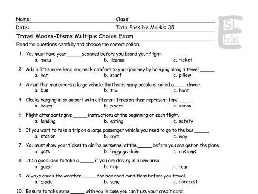 Travel Modes-Items Multiple Choice Exam