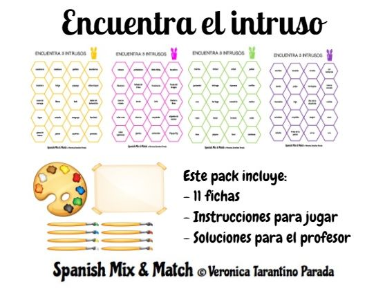 Find the odd one out (Spanish vocabulary, 3 game options)