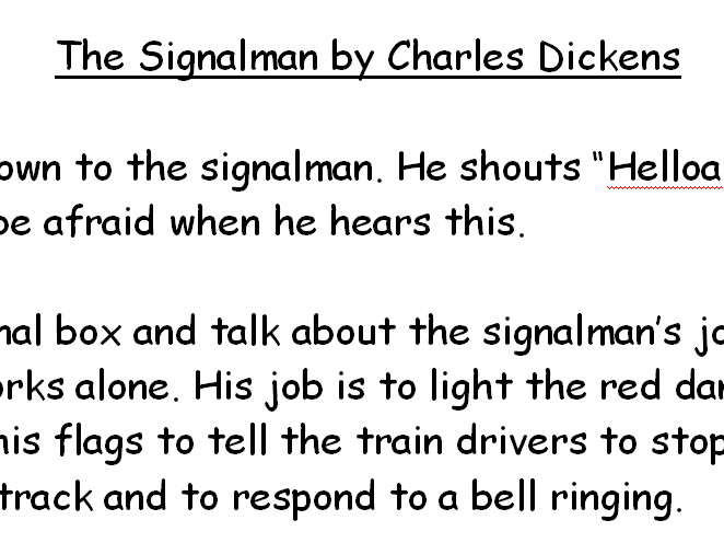 The Signalman by Charles Dickens for EAL learners