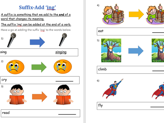 Year 1-Adding the suffix 'ing'