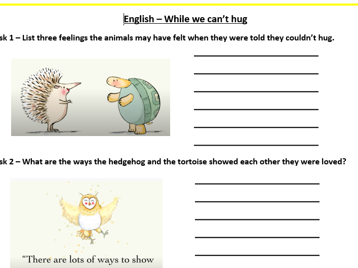 EYFS KS1 Return to school while we can't hug activity social distance reminder