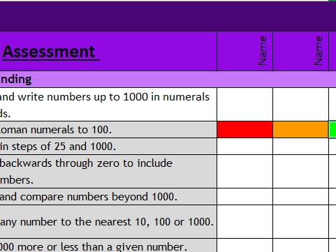 Whole School Maths Assessment Criteria/ Key Performance Indicators Spreadsheet
