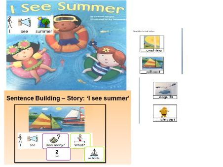''I See Summer'' story and activities widgit symbolised