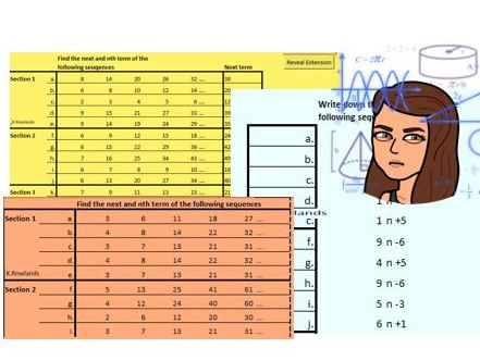 KS3 KS4 Increasing Difficulty Nth term of linear and quadratic sequences generator