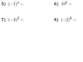 Evaluating exponents  worksheets (with solutions)