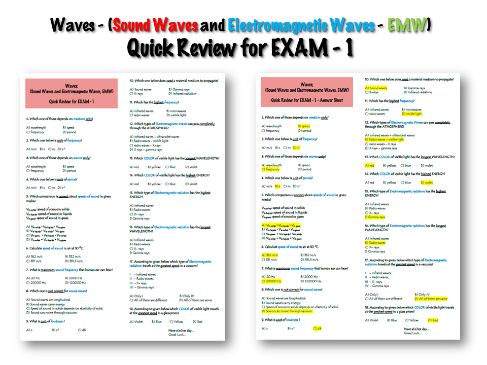 Waves - (Sound Waves and Electromagnetic Waves, EMW) - Quick Review for EXAM - 1