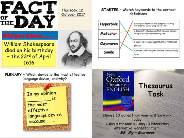 Outstanding English starter and plenary activities