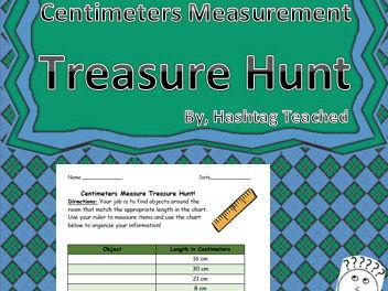 Centimeters Measurement Treasure Hunt Worksheet Activity
