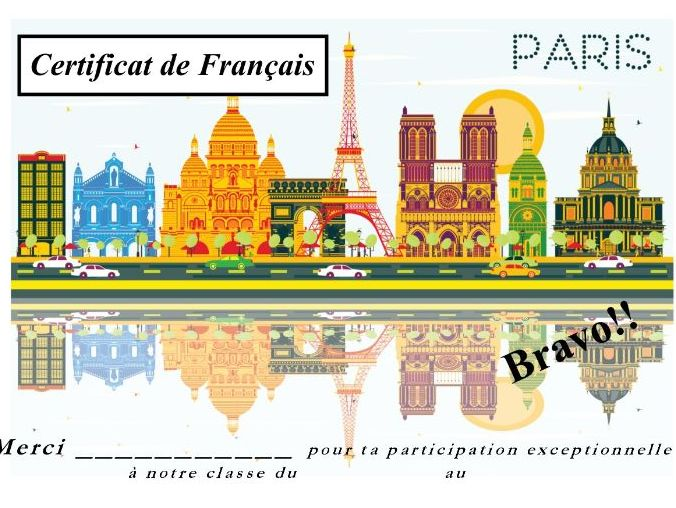 General French certificate 15/ Certificat de francais 15