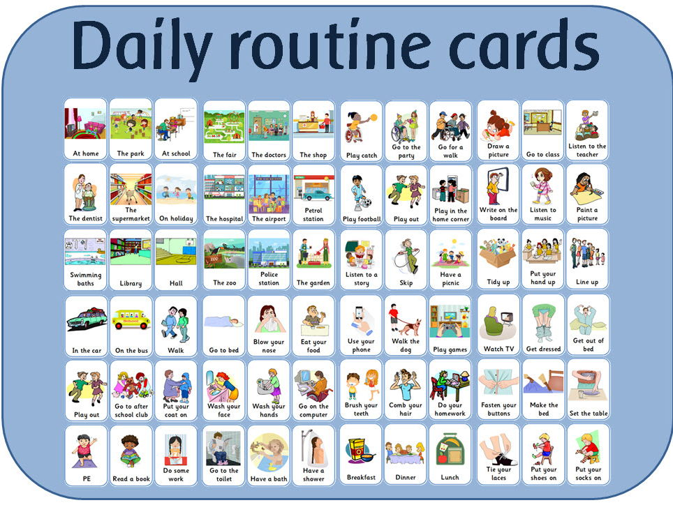 Daily routine flash cards for visual sequencing