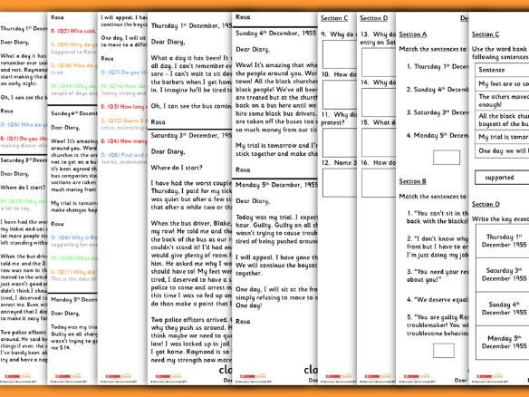 Year 2 Rosa Parks Fictional Diary for Whole Class Guided Reading