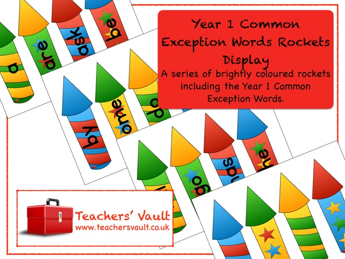 Year 1 Common Exception Words Rockets Display