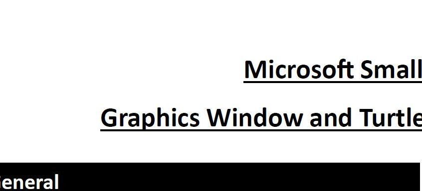 Microsoft Small Basic Revision / Help Sheet - Graphics Window and Turtle