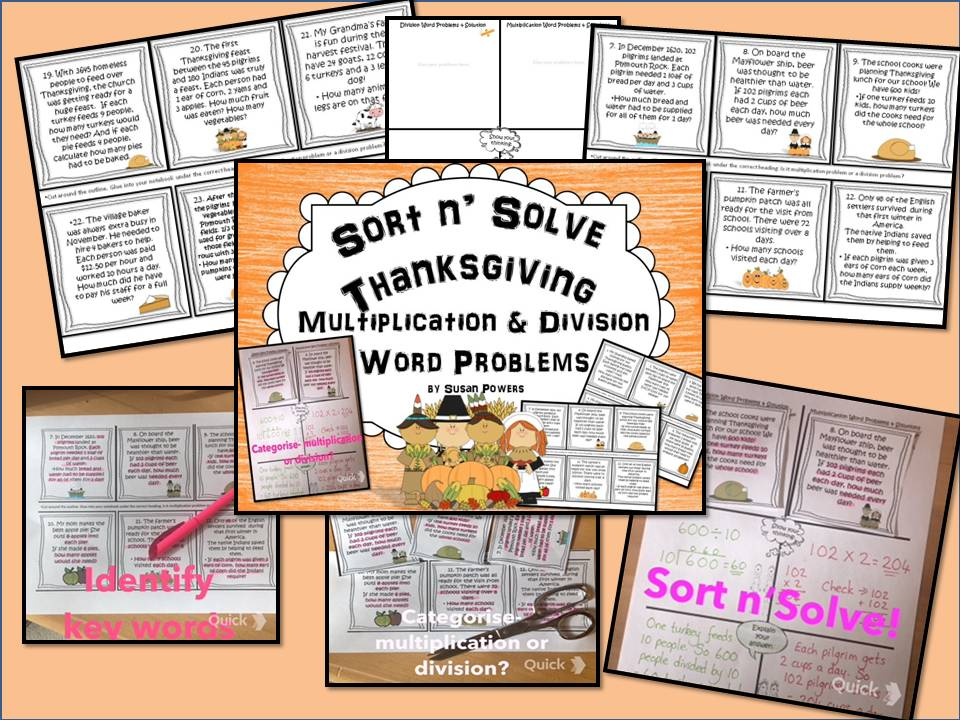 Sort n' Solve Thanksgiving Multiplication & Division Word Problems