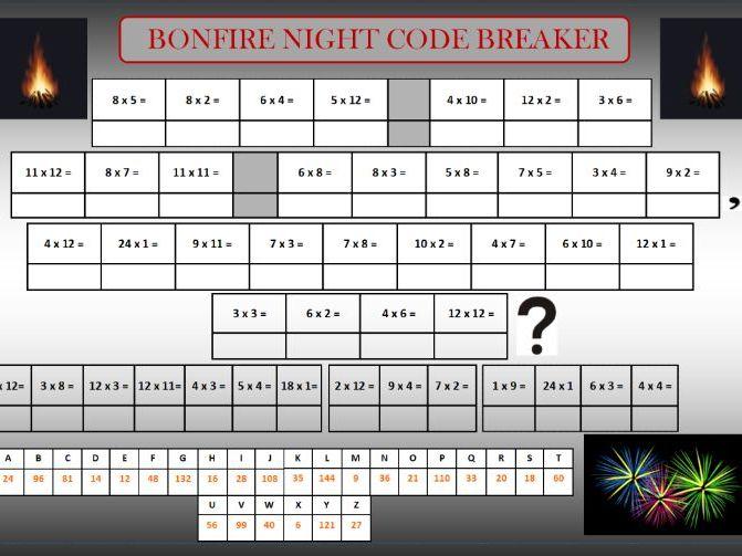 Bonfire code breaker and wordsearch