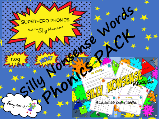 Silly Nonsense Words Phonics PACK - Phonics Screen Preparation Aid