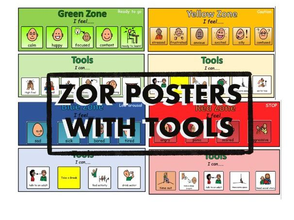 Zones of Regulation Posters with Tools