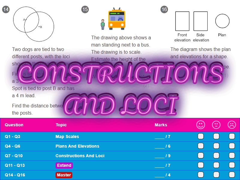 Constructions And Loci Worksheet + Answers (Foundation GCSE)