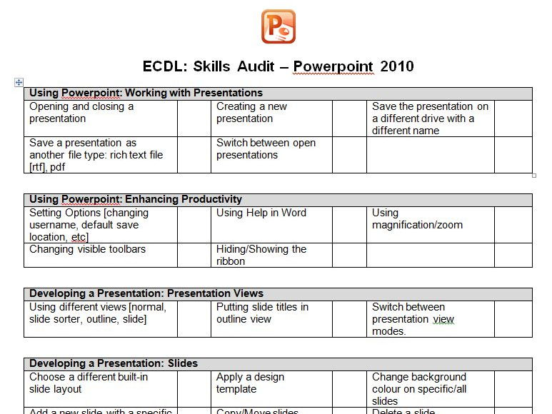 ECDL Powerpoint Revision Checklist [with diagnostic video link]