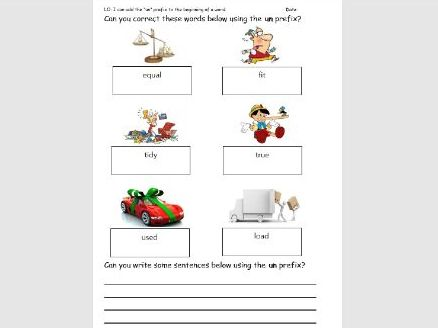 Un Prefix - 2 Lessons complete with flip charts and Worksheets
