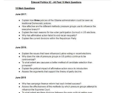Edexcel Politics 3C - All Past 15 Mark Questions