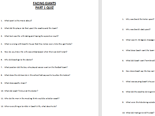 facing giants movie short answer questions by zelayaa teaching rh tes com Biblical Giants Facing Your Giants PDF