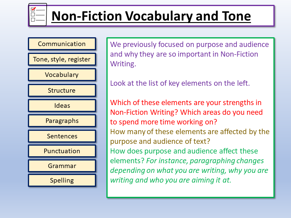 Vocabulary and Tone