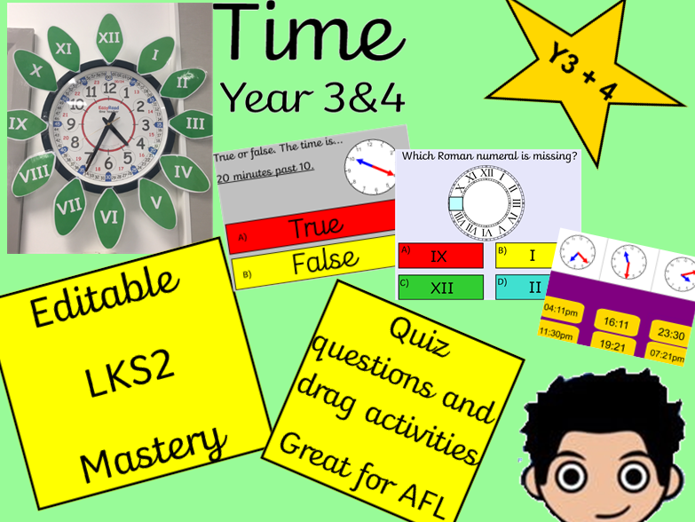 Mastery Time Year 3_4 KS2 Read, write and convert time. analogue and digital 12 and 24 hour clock