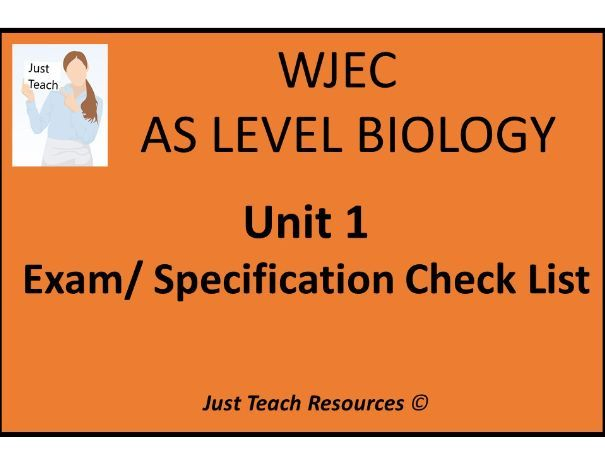 WJEC AS Biology (2015) Unit 1 Specification Exam Checklist