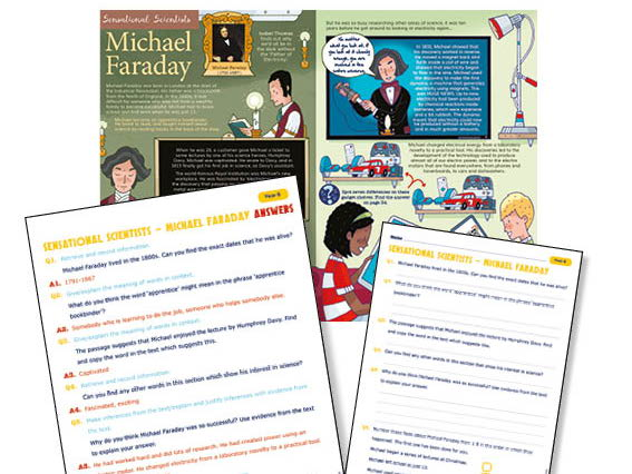 Year 6  Michael Faraday guided reading questions and answer sheets
