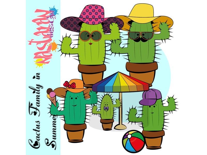 Cactus Family In Summer Clip art